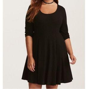 Black ribbed skater dress